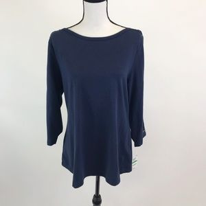 NWT Charter Club Lace Up Sleeve  Top L